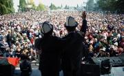 Более 20 тыс. жителей Таласа пришли поддержать Омурбека Бабанова и Камчыбека Ташиева